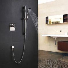 Bathroom Wall Mount Brushed Nickel Concealed Valve U0026 Slide Bar Handshower  System