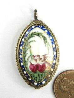 Antique Georgian English Gilt Bilston Enamel Locket Pendant c1780 Love Birds   eBay