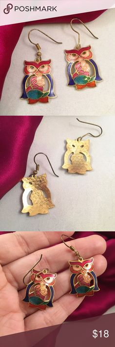 """VINTAGE Adorable Owl Cloisonné Earrings From the late 80s. Just adorable with pretty saturated Cloisonné enamel work. Approximately 1.5"""" drop including the Owl that measures 1"""" Vintage Jewelry Earrings"""