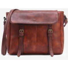 Camel Dual Buckled Strap Messenger Bag