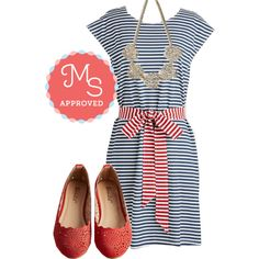 In this outfit: Cookout of the Blue Dress, To Catch a Reef Necklace, Make the Motif of It Flat in Ruby #stripes #nautical #summer #ModCloth #ModStylist #fashion