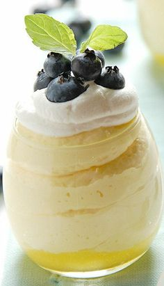 Lemon Curd Mousse with Blueberries