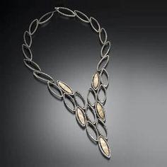 "Davide Bigazzi: Primavera, Necklace in sterling silver and 18k gold. 17""."