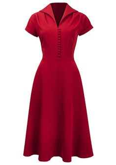 1409241-1940s Weekender Dress red