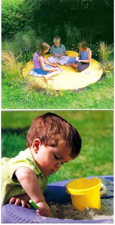 table top and painted tire sand box. Neat!
