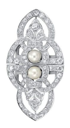 Platinum, Cultured Pearl and Diamond Double Clip-Brooch, circa 1935.