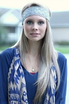 Grey Crochet Lace Headband