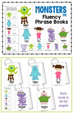 """Monsters"" Fluency Phrase Books! Includes ALL 220 Dolch Sight Words!"