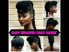 Natural Hair Tutorial: Simple Goddess Braided Faux Hawk!!! #iamnoirtv - YouTube