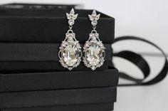 Bridal Earrings Crystal Wedding Earrings Vintage Style $75