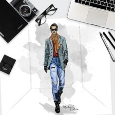 If you want an athletic male croqui for your portfolio, then this figure template is what you need. The male catwalk model is walking down the runway in a classic active front view.  Use the fashion template for a variety of versatile designs, formal and casual wear, haute couture and swim wear.