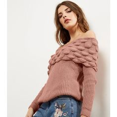 New Look Cameo Rose Pink Bardot Neck Bubble Knit Jumper (3305 RSD) ❤ liked on Polyvore featuring tops, sweaters, mid pink, pink top, rose sweater, knit jumper, pink knit sweater and cameo top