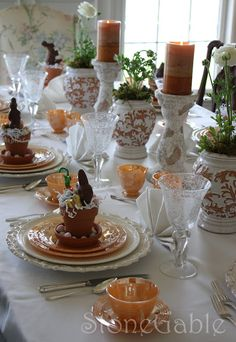 Perfect idea for Easter brunch at my house!  Love the terracotta pots filled with goodies : )