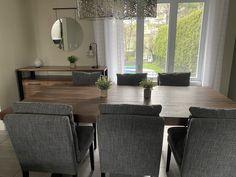 TABLE ST-IRÉNÉE - NOYER - 84'' X 42'' - BUFFET AUGUSTA NOYER - CHAISES MONROE TISSU C-783 #lusine #table #stirenee #noyer #buffet #augusta #chaise #monroe #tissu #c783 Chaise Chair, Monroe, Dining Bench, Buffet, Tables, Furniture, Home Decor, Drown, Chairs