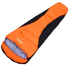 Enkeeo Mummy Camping Sleeping Bag 91x34 Inch 2030 Degree Ultralight Sleeping Bag with Waterproof Taffeta Shell Breathable Hollow Cotton Compression Sack for 4 Season Hiking Black  Orange ** Check this awesome product by going to the link at the image.