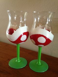 Super Mario Drinking Glasses by TheCraftyAdventurer on Etsy, $35.00