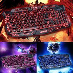 11b9c007514 3 Colors Crack Illuminated LED Backlight USB Multimedia PC Gaming Keyboard  A878 #gaming #keyboard