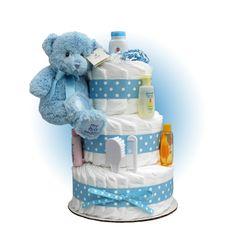 Blue Teddy 3-Tier Diaper Cake for Baby Boy