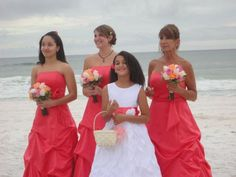 pink coral dresses, see the roses little bouquets and the ribbon in the basket