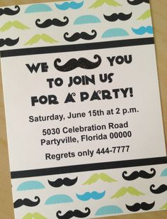 Mustache Party Invitations by DesignSweet on Etsy, $1.75