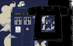 TIME TRAVEL -It's Quicker by Blue Box - tee by DinobotTees