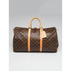 Pre-owned Louis Vuitton Monogram Canvas Keepall 50 Bag (7.665 NOK) ❤ liked on Polyvore featuring bags, monogram canvas bag, canvas bags, foldable bag, flower bag and pre owned bags