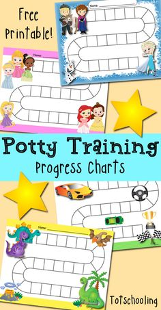 FREE Potty Training progress and reward charts featuring Frozen theme, princesses, dinosaurs and race car themed.