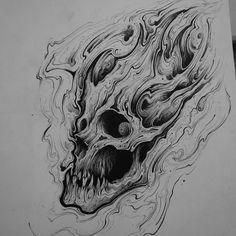No photo description available. Evil Skull Tattoo, Skull Rose Tattoos, Dragon Sleeve Tattoos, Skull Artwork, Artwork Prints, Skull Design, Skull Tattoo Design, Skull Sketch, Tatoo
