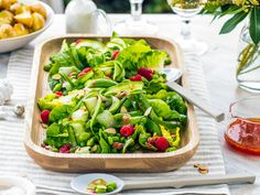 This delightfully fresh green salad recipe combines shaved cucumber, peas, mint and raspberry dressing to create a delicious side dish. Try serving as part of a summery alfresco meal. Delicious!