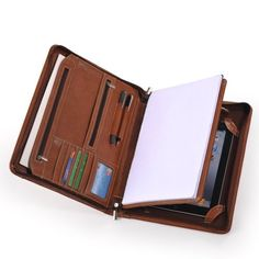 Leather Portfolio With Notepad Space for iPad 2 and the New iPad 3-Brown…