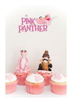 818bb7f74 Cupcakes de la Pantera rosa y el Inspector Bolo, Tema Da Pantera Cor De Rosa