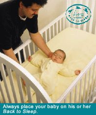 Safe Sleep Tips for your baby!  Always place your healthy baby to sleep on their backs, in their OWN safe crib.