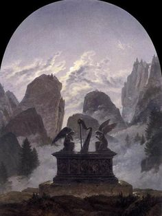 """"""" Goethe Monument by Carl Gustav Carus Carus was a great admirer of Goethe, who in turn highly appreciated both Carus's theoretical writings and his painting. Carus's painting of the. Image La Nature, Carl Gustav Carus, Casper David, The Frankenstein, Classical Art, Art Graphique, Vintage Artwork, Oeuvre D'art, Magick"""