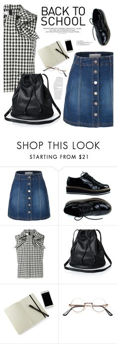 """""""Back to School!"""" by hafizhahtika ❤ liked on Polyvore featuring LE3NO, Marques'Almeida, Moleskine, BackToSchool, denimskirt, polyvorecontest and ginghamtop"""