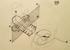"""JOHN LEWANDOWSKI – IMAGINARY RELIGION. POINTLESS DIAGRAMS, a year of meaningless diagrams """"inspired by his own perceptions of architecture, furniture, engineering, Legos, cereal boxes, and more."""" Featured in The Architect's Newspaper."""