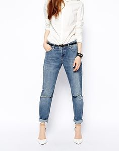 ASOS Brady Low Rise Slim Boyfriend Jeans in Mid Wash with Busted Knee http://www.asos.com/ASOS/ASOS-Brady-Low-Rise-Slim-Boyfriend-Jeans-in-Mid-Wash-with-Busted-Knee/Prod/pgeproduct.aspx?iid=4160176&cid=2623&sh=0&pge=0&pgesize=204&sort=-1&clr=Mid+wash+blue