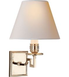 $293Visual Comfort Alexa Hampton Dean Single Arm Sconce in Natural Brass with Natural Paper Shade AH2000NB-NP | Visual Comfort Lighting Lights | Visual Comfort | Visual Comfort Lighting | Alexa Hampton | Visual Comfort Sconces | Lighting New York | Lighting Fixtures