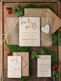 Rustic country burlap and wood wedding invitations