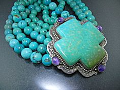 David Troutman Sterling Silver Turquoise Amethyst Cross (Image1)