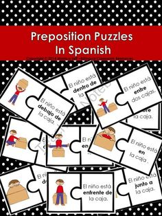 Preposition Puzzles In Spanish from Bilingual Resources on TeachersNotebook.com -  (15 pages)  - This product contains 12 preposition puzzles that you can print and laminate for your classroom. This is one of the many products that can be found in Las Preposiciones de Lugar Unit- Prepositions  In Spanish (which is also found in my store).