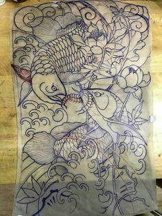 Japanese Koi Fish Tattoo, Japanese Tattoo Designs, Dragon Tattoo Full Back, Back Tattoo, Line Art Tattoos, Tattoo Flash Art, Style Baby, Koi Tattoo Design, Dragon Fish