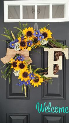 Sunflower Wreath Summer Wreath Wildflower by SimplySundayShop