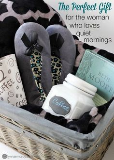 """I love giving gift baskets! They're so easy to personalize. I'm currently in love with this gray wicker basket from Walmart. It makes the perfect container for this """"quiet time"""" themed basket. Gift Baskets For Women, Diy Gift Baskets, Christmas Gift Baskets, Diy Christmas Gifts, Holiday Gifts, Basket Gift, Christmas Tree, Coffee Gift Baskets, Homemade Gift Baskets"""