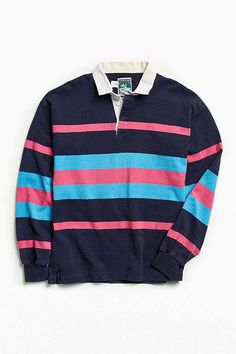 07efb87cded Vintage McIntosh & Seymour Stripe Rugby Shirt | Urban Outfitters Mens Tees, Rugby  Shirts,