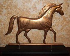 Vintage Primitive Folk Art Hammered Copper Metal Horse