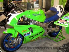 Scott Russell's Daytona winning Kawasaki. It's a little scuffed on the left side ;-)