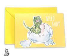 Surface Pattern Designs by TasherellaKitty on Etsy Hello Baby Dinosaur Greetings card - New baby - unisex - dinosaur egg