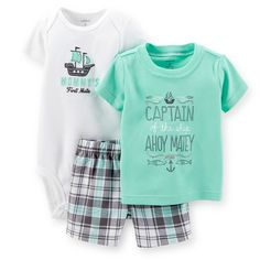 Carter's Baby Boys' Nautical Set Source by boy outfits Baby Outfits, Toddler Outfits, Kids Outfits, Baby Set, Baby Baby, Niñas Carters Baby, Baby Galerie, Body Suit With Shorts, Baby Kids Clothes