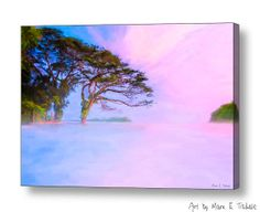 Edge Of A Dream - Lake Nicaragua Landscape art by Mark E Tisdale - pink and blue dusk