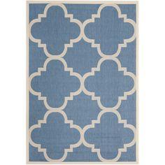 Safavieh Courtyard Blue/Beige Geometric-Print Indoor-Outdoor Rug | Overstock.com Shopping - Great Deals on Safavieh 7x9 - 10x14 Rugs